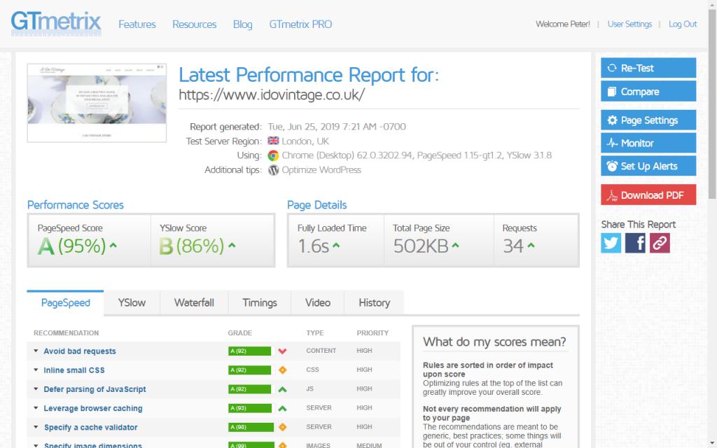 GTMetrix website speed test overview