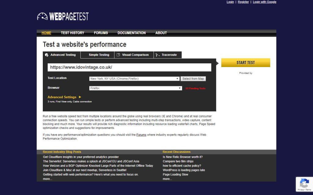 WebPageTest homepage
