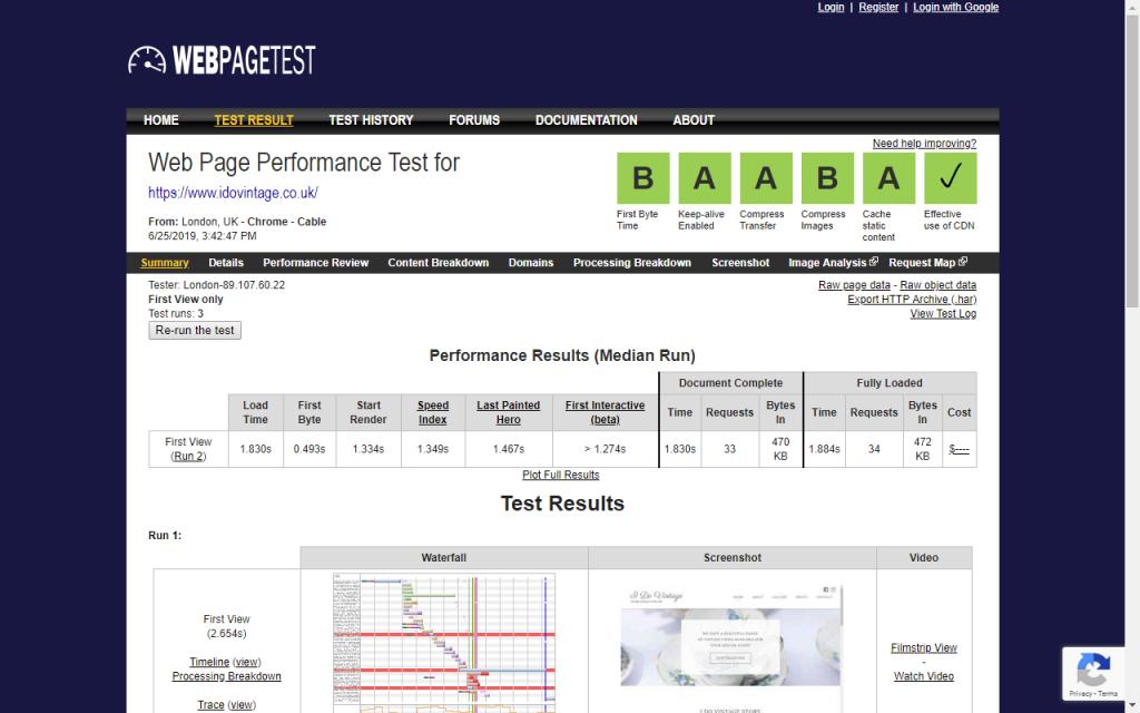 WebPageTest website speed test results