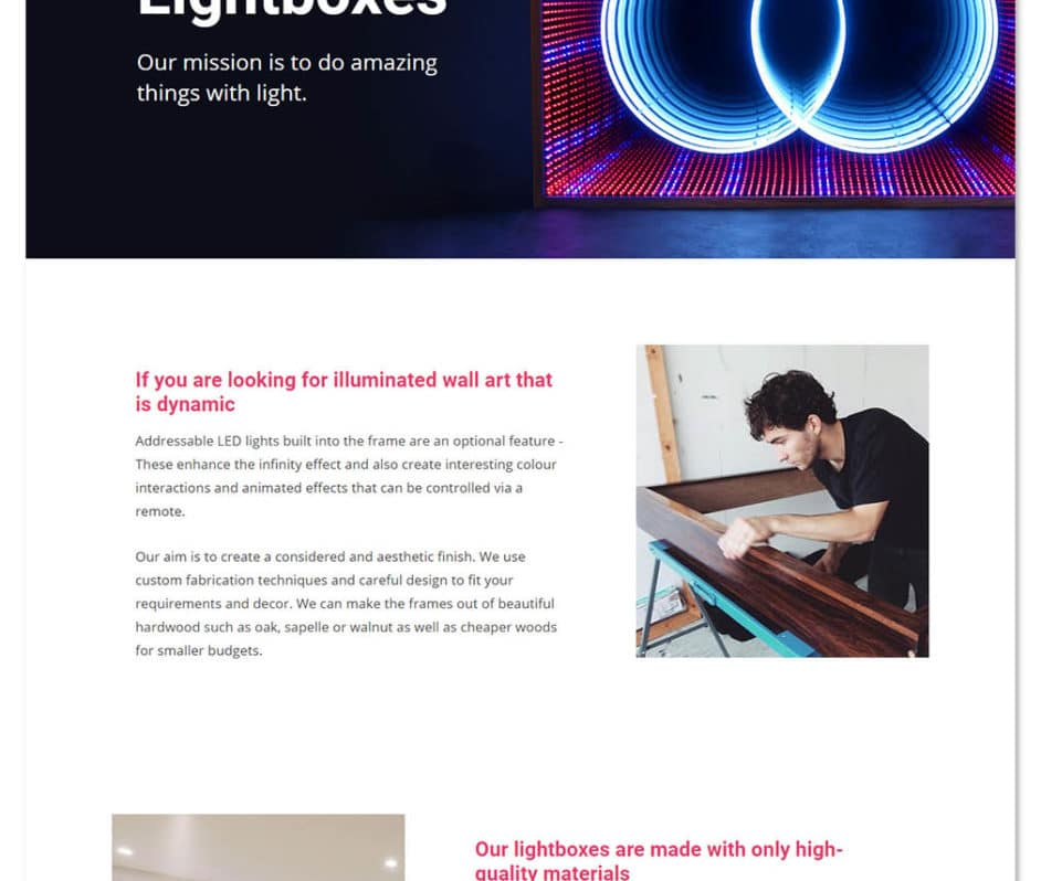 Lightbox Art homepage web design