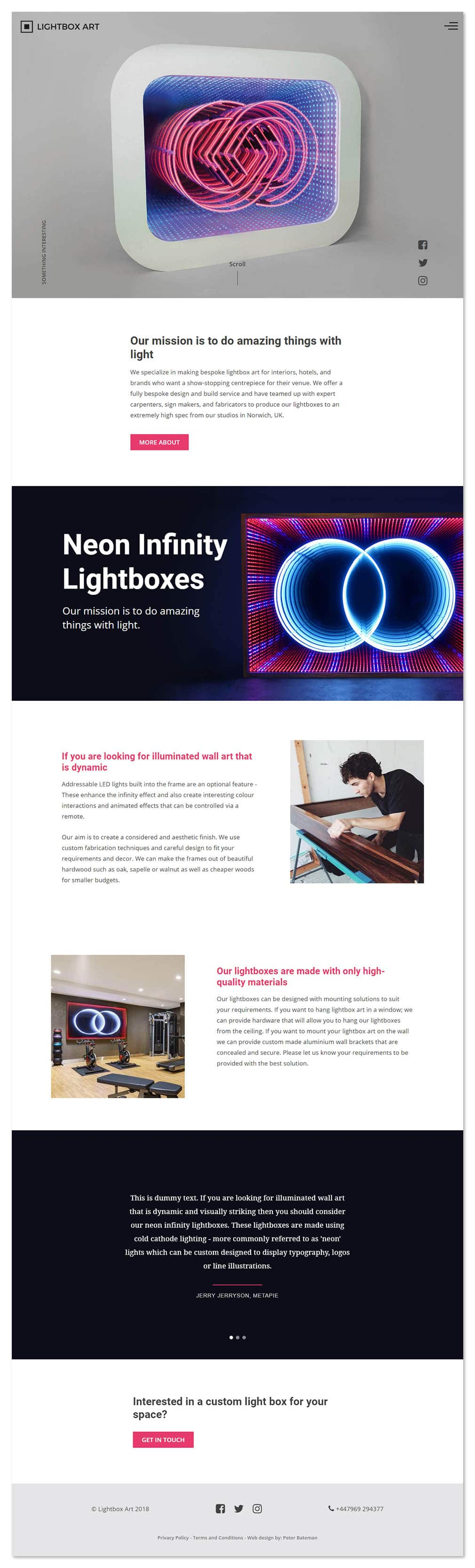 Lightbox Art homepage web design