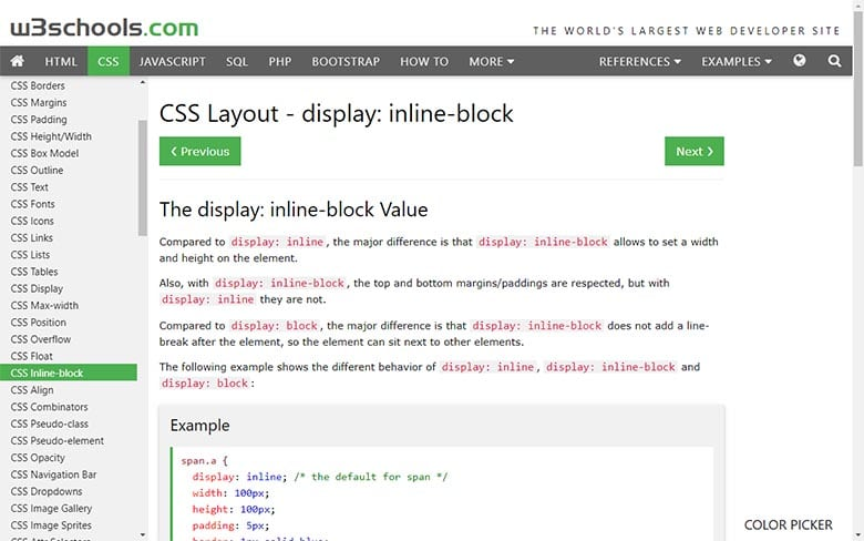 W3schools inline-block reference page